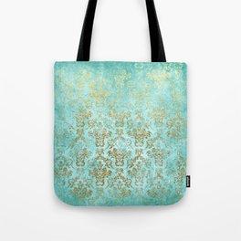 Mermaid Gold Aqua Seafoam Damask Tote Bag