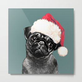 Christmas Black Pug Green Metal Print