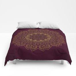 Gold Mandala on Royal Red Background Comforters
