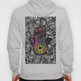 Colorful Hand Drawn Hamsa Hand an Floral Drawings Hoody