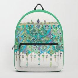 Art Deco Double Drop in Jade and Aquamarine on Cream Backpack