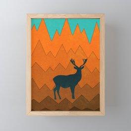 Deer silhouette in autumn Framed Mini Art Print