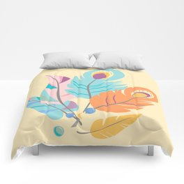 Stylized Peacock Feather Design Comforters