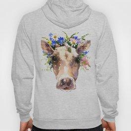 Cow Head, Floral Farm Animal Artwork farm house design, cattle Hoody