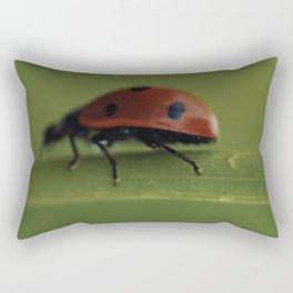 Ladybird on a Flower, macro photography, home, still life, fine art, animal love, nature photo Rectangular Pillow