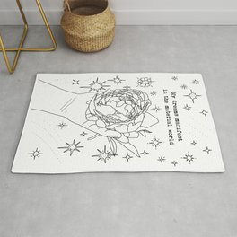 My Dreams Manifest in the Material World | Minimal Linear Art | Peony & Hand | Stars | Motivational Rug