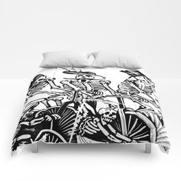 Calavera Cyclists | Black and White Comforters