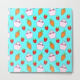 Cute funny Kawaii pink little baby bunnies, happy orange carrots and ripe juicy summer strawberries adorablelight pastel blue fruity pattern design. Nursery decor ideas. Metal Print