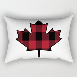 Plaid Maple Leaf Rectangular Pillow