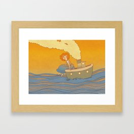 She landed on a passing by boat that took her to a little island Framed Art Print