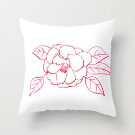 Shrub Rose Watercolor Line Drawing Throw Pillow