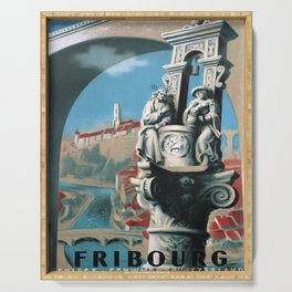 retro poster Fribourg voyage poster Serving Tray