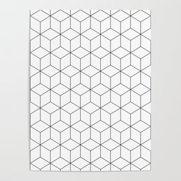 3D Cubes Line Pattern Poster