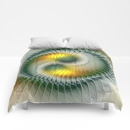 Like Yin and Yang, Abstract Fractal Art Comforters