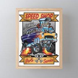 Speed Shop Hot Rod Muscle Car Parts and Service Vintage Cartoon Illustration Framed Mini Art Print