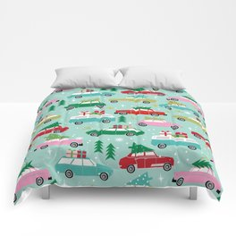 Vintage Christmas cars festive holiday traditions snow winter snowflakes classic car pattern Comforters