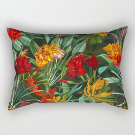 Vintage & Shabby Chic - Colorful Tropical Night Garden Rectangular Pillow