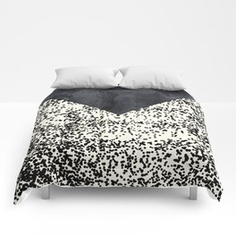 Black ivory confetti watercolor geometrical Comforters
