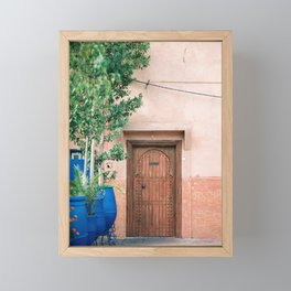 "Marrakech Travel Photography ""Wooden door on coral wall 