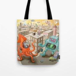 Squid vs Robot Tote Bag