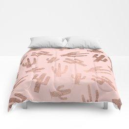 Modern rose gold cactus pattern on blush pink Comforters