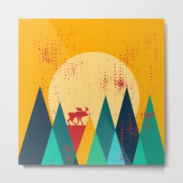 Moose in the mountains Metal Print