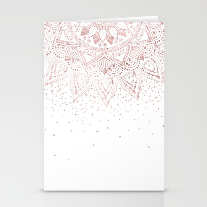 Elegant rose gold mandala confetti design Stationery Cards