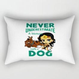 woman with a dog Rectangular Pillow