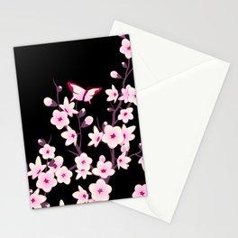 Cherry Blossom Pink Black Stationery Cards