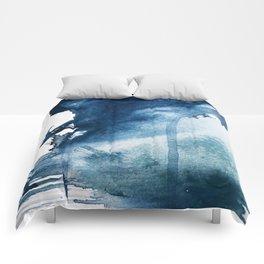 Pacific Grove: a pretty minimal abstract piece in blue by Alyssa Hamilton Art Comforters