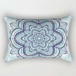 Teal Mandala floral Rectangular Pillow