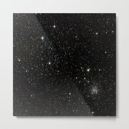 Universe Space Stars Planets Galaxy Black and White Metal Print