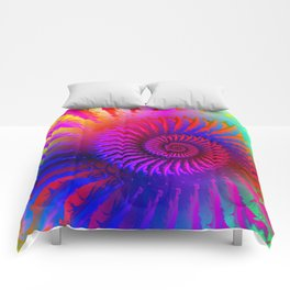 Rainbow Psychedelic Hippie Fractal Art Comforters