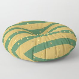 Christmas Golden confetti on Gold and Green Stripes Floor Pillow