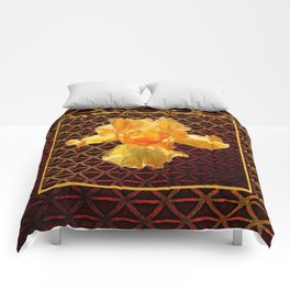 COFFEE BROWN ART PATTERN GOLDEN BEARDED IRIS Comforters