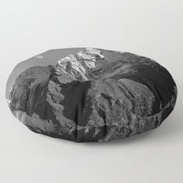 Moon Over Pioneer Peak B&W Floor Pillow