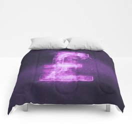 Pound sterling sign, Pound sterling Symbol. Monetary currency symbol. Abstract night sky background. Comforters