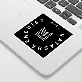 Miss Natasha Enquist LOGO white on black Sticker