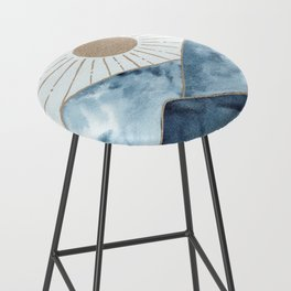Indigo & gold landscape 1 Bar Stool