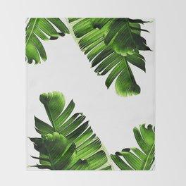 Green banana leaf Throw Blanket