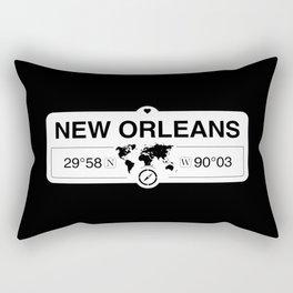 New OrleansLouisiana Map GPS Coordinates Artwork Rectangular Pillow
