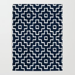 Blue Geometric Pattern Poster