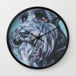 SCHNAUZER dog art portrait from an original painting by L.A.Shepard Wall Clock