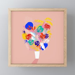 Keep Growing - Tropical plant on peach Framed Mini Art Print