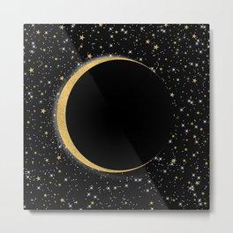 Black & Gold Magic Moon Metal Print