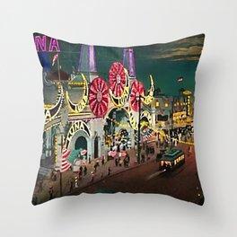 Luna Park Coney Island Amusement Park, New York, New York Portrait Throw Pillow