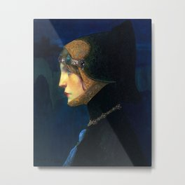 Head of a Lady in Medieval Costume by Lucien Victor Guirand de Scevola (c.1900) Metal Print