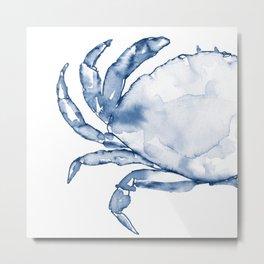 Coastal Crab in Watercolor, Navy Blue (Left Half in Set) Metal Print