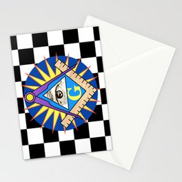 Masonic Square & Compass On Blue Disc Stationery Cards