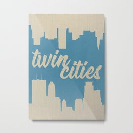 Twins Cities Skylines | Minneapolis and Saint Paul, Minnesota Metal Print